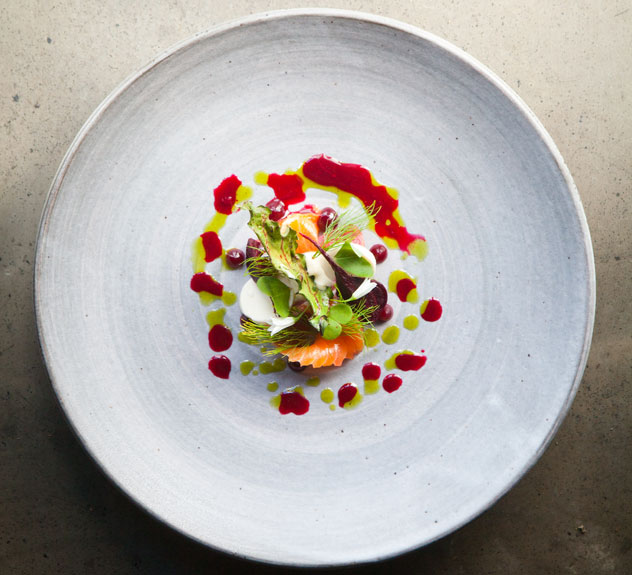 Pine-cured-trout,-smoked-pin-nut-puree,-pine-oil-and-organic-beets-at-The-Test-Kitchen