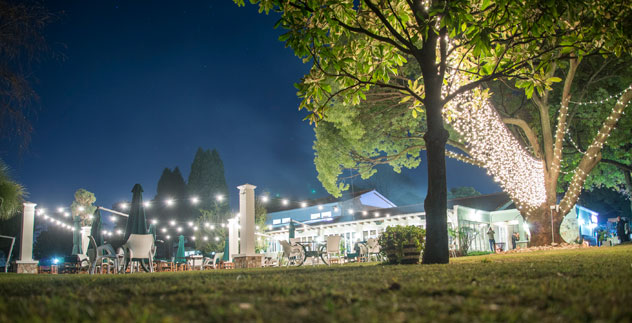 The outdoor area looks quite magical by night. Photo supplied.