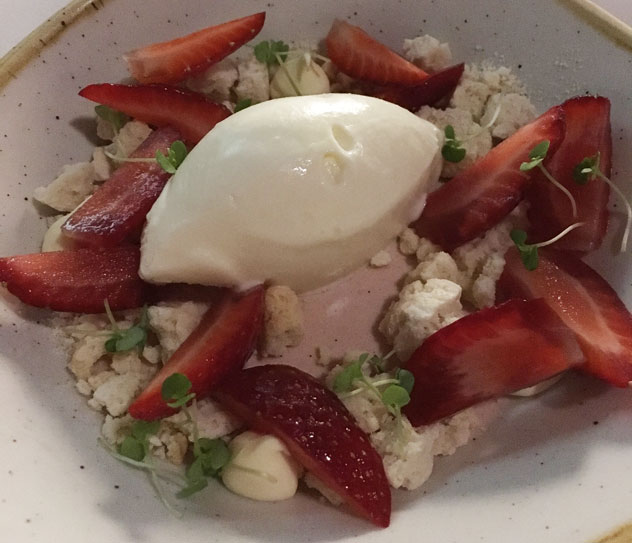 The strawberry panna cotta. Photo by Lynda Ingham-Brown.