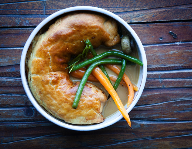 Roasted chicken pie, with summer vegetables and a magnificent confit garlic velouté, dreamt up by Nic van Wyk of Bistro 13.