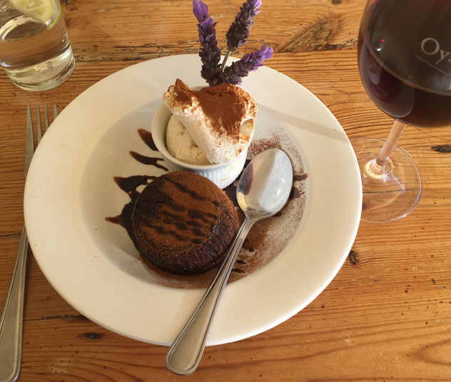 The chocolate fondant didn't disappoint. Photo by Crispian Brown.