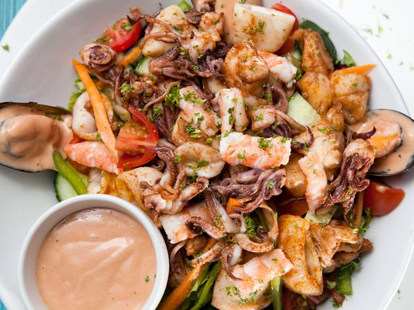 A seafood salad at Catch 22. Photo supplied.