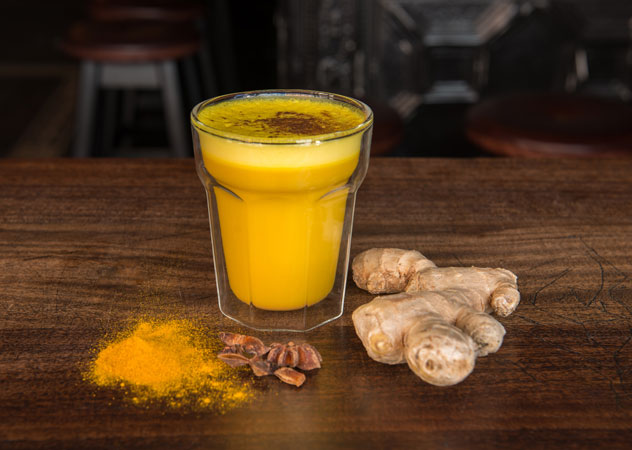 The golden milk latte made with tumeric. Photo supplied.