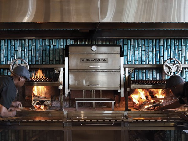 The grill surrounded by Mervyn Gers tiles at Marble. Photo supplied.