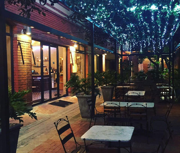 The outside area is covered with twinkling fairy lights. Photo supplied.