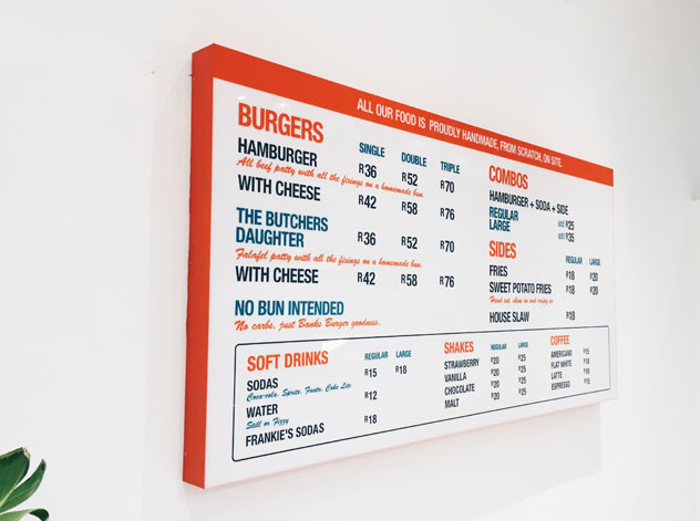 The Banks menu includes a banting option. Photo supplied.