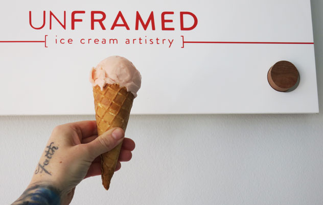 A scoop of the grapefruit sorbet, flavoured with timut pepper. Photo by Katharine Jacobs.