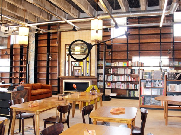 Books surround the interior at EB Social Kitchen & Bar. Photo supplied.