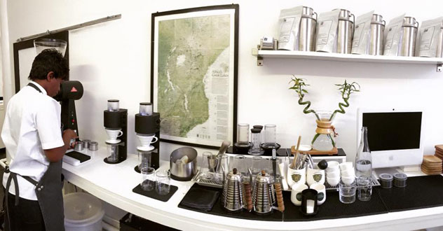 A coffee station at Espresso Lab Microroasters. Photo supplied.