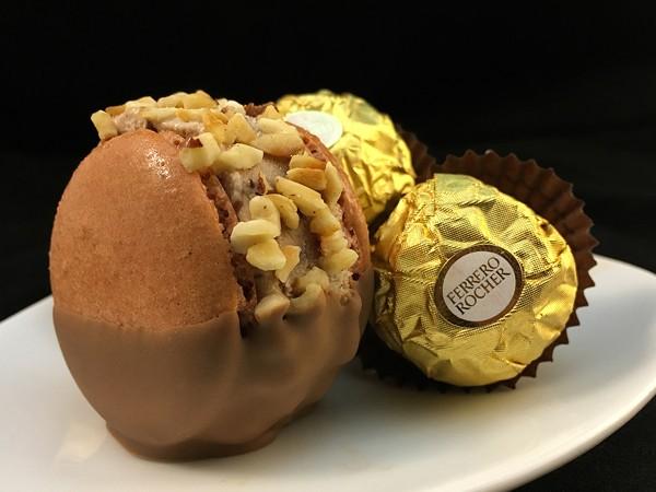 The chocolate-dipped Ferrero Rocher ice cream macaron. Photo supplied.