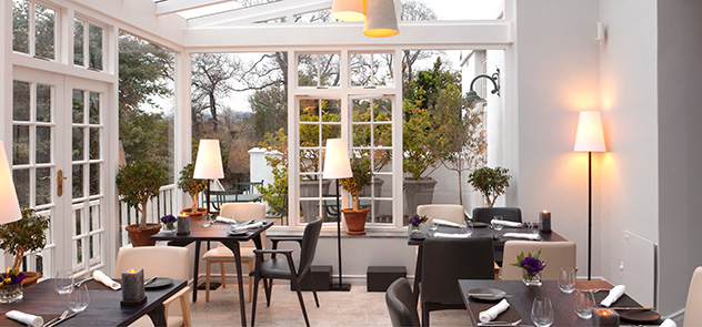 The front section of the restaurant looks out to the Hohenort's beautiful gardens. Photo supplied.