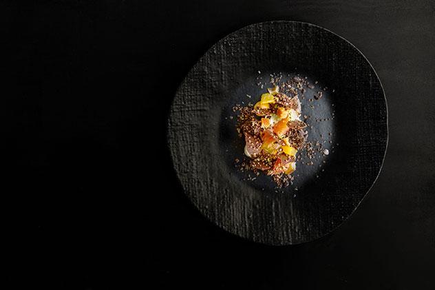 Dark chocolate with quinoa, citrus, yoghurt and almond. Photo supplied.