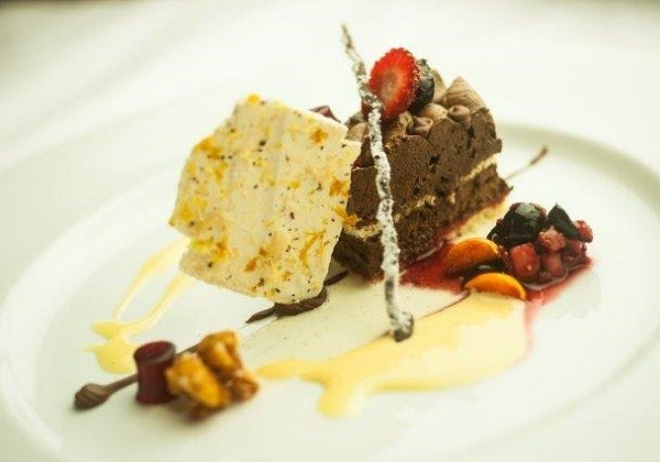 Chef Henrico's winning dessert of baked Genoise sponge and strawberry syrup. Photo supplied.