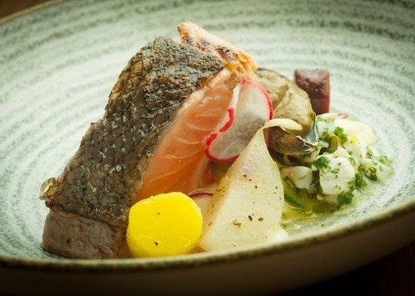 Chef Richard's pan-fried salmon, scallop ceviche, tartare foam. Photo supplied.
