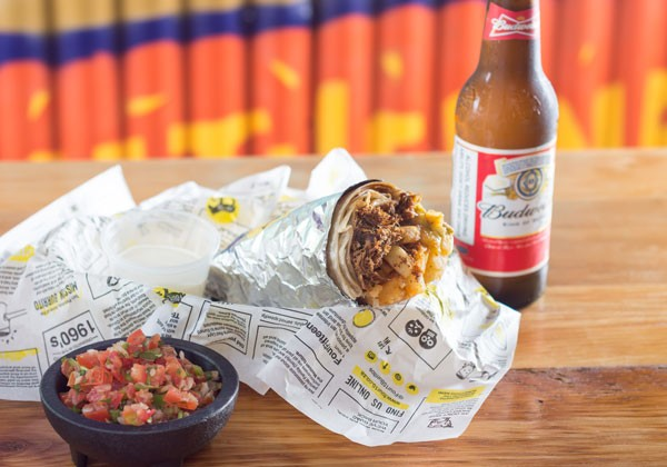 Four15's burrito and beer. Photo supplied.