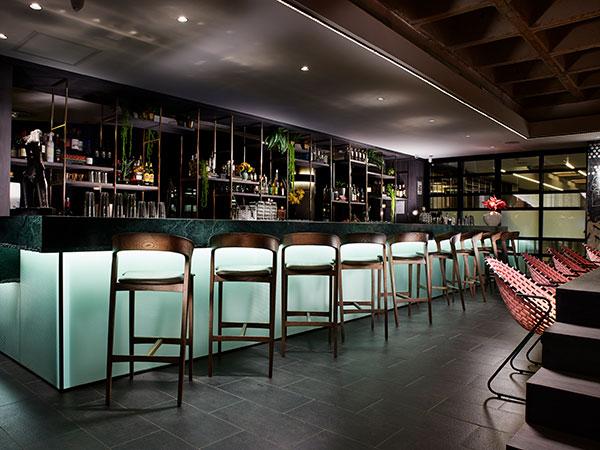 The beautiful illuminated bar. Photo supplied.