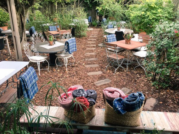 The leafy outdoor dining area at Starlings. Photo supplied.