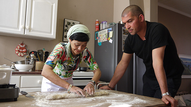 The team visited the Bo-Kaap to pick up some spices and learn to make koesusters. Photo supplied.