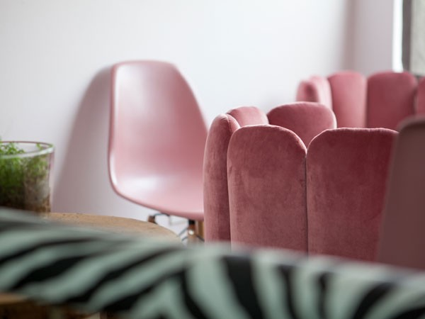 The boudoir biscuit chairs in the Choux Choux lounge at Glenda's. Photo supplied.