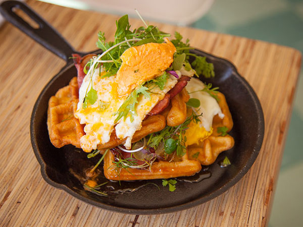 The all-day breakfast waffle stack. Photo supplied.