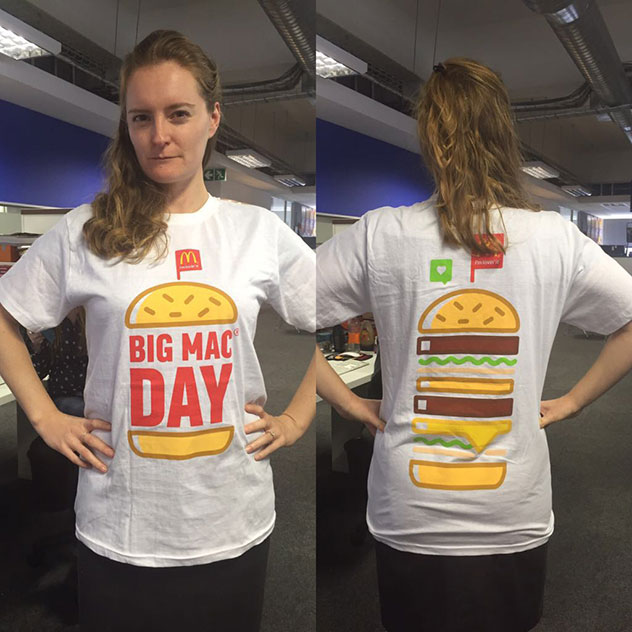 Online editor Katharine Jacobs models the free Big Mac T-shirt we received via courier. Photo by Anelde Greef.