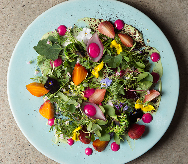 Foliage_Warm salad of charcoal roasted beetroot, broccoli, sorrel yoghurt, 19 year old vinegar dressing