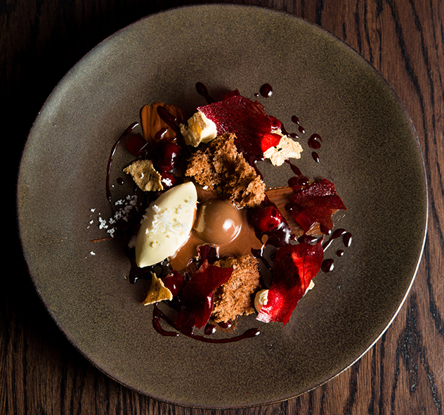 Greenhouse_Madagascan chocolate with Ceres cherries, coconut mascarpone ice-cream and winter spiced rusk