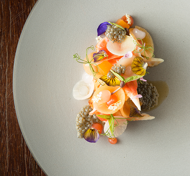 La Colombe_Elderflower cured Norwegian salmon, citrus dressed King crab, blood orange, melon, basil seed and wood sorrel