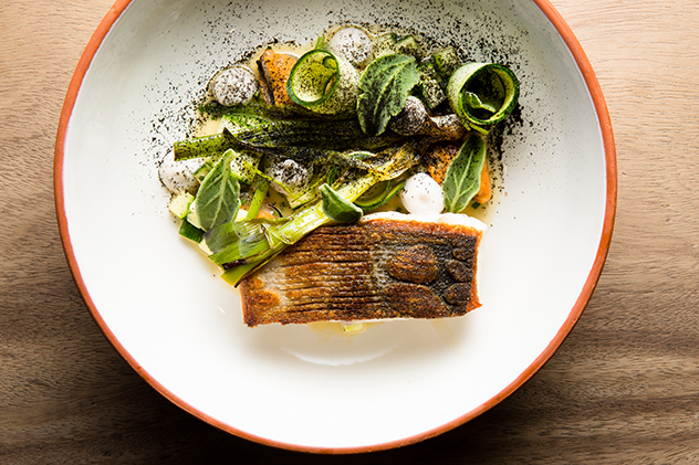 Overture_Roasted yellowtail, mussels, taramasalata and courgette