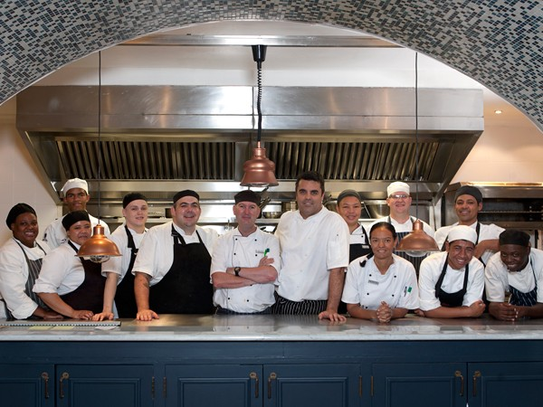 Peter Tempelhoff, Grant Parker and the Origins kitchen team. Photo supplied.