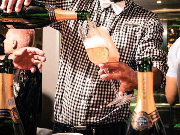 Bubbly being served at Black Bamboo. Photo supplied.