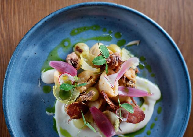 The squid with chorizo, ajo blanco and wild garlic. Photo supplied.