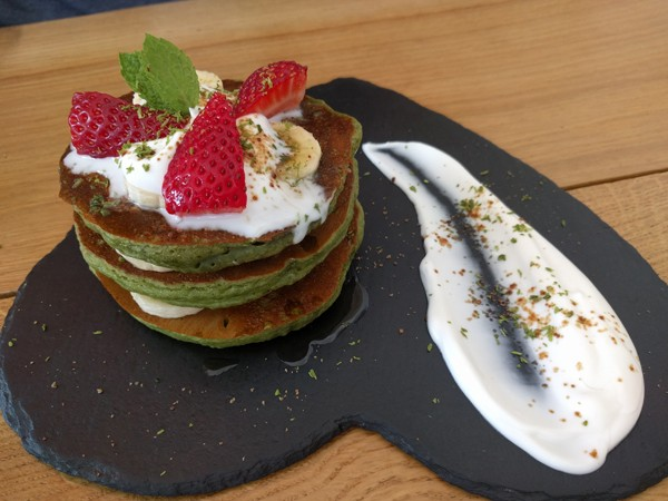 The matcha flapjacks at Sheckters Raw in Sea Point. Photo supplied.