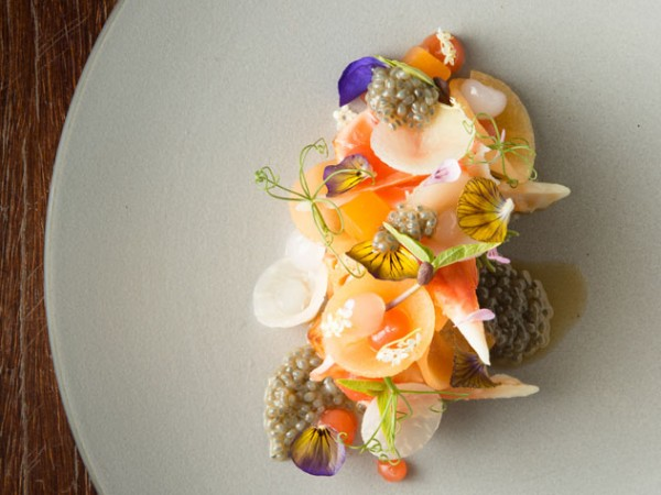 Elderflower-cured Norwegian salmon with citrus-dressed king crab at La Colombe. Photo supplied.
