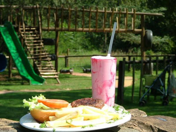 The play area and kiddies' meal at Yellowwood Café. Photo supplied.
