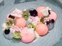 Spring strawberries with coconut water, elderflower cucumber and sorrel foam feature