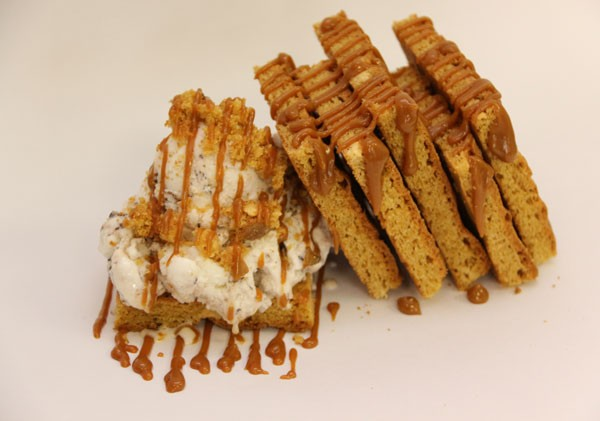 Crumbs & Cream's blondie, drizzled with caramel. Photo supplied.