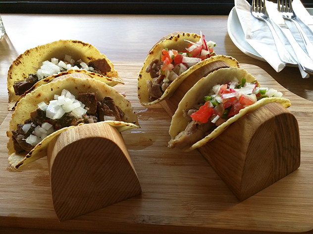 The tacos are served two to a portion, and are fairly small. Photo by Katharine Jacobs.