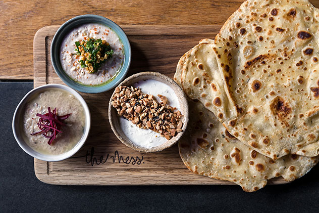 The flatbreads and mezze. Photo supplied.