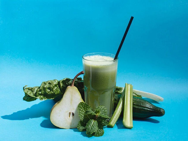 The green juice with Swiss chard, pear, celery, cucumber and mint. Photo by Tyrone Bradley.