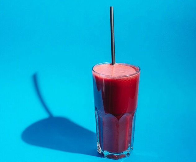 The red juice with carrot, beetroot, pineapple and ginger. Photo by Tyrone Bradley.