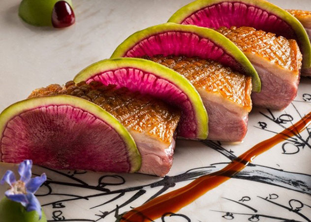 Duck breast with watermelon radish, Japanese peach, duck and cranberry jus. Photo supplied.