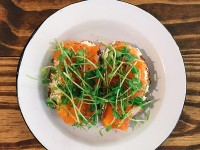Smoked trout tartine at Wholesome