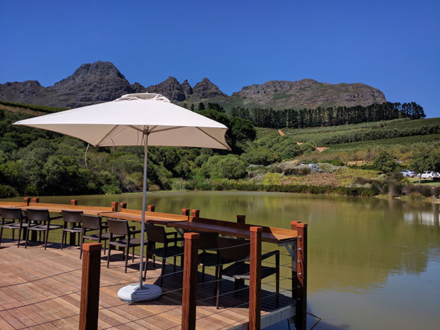 The Deck has one of Stellenbosch's best views, at a fraction of the cost of its more expensive restaurants. Photo by Katharine Jacobs.