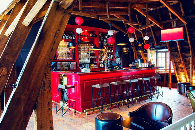 Tjing Tjing's beautiful bar boasts a mansard roof and Japanese-inspired decor. Photo supplied.
