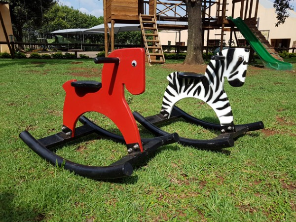Cute rocking horses outside Anja's Tea Garden. Photo supplied.