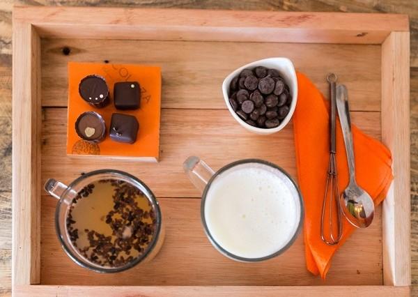 The hot chocolate tray at Chocoloza. Photo supplied.