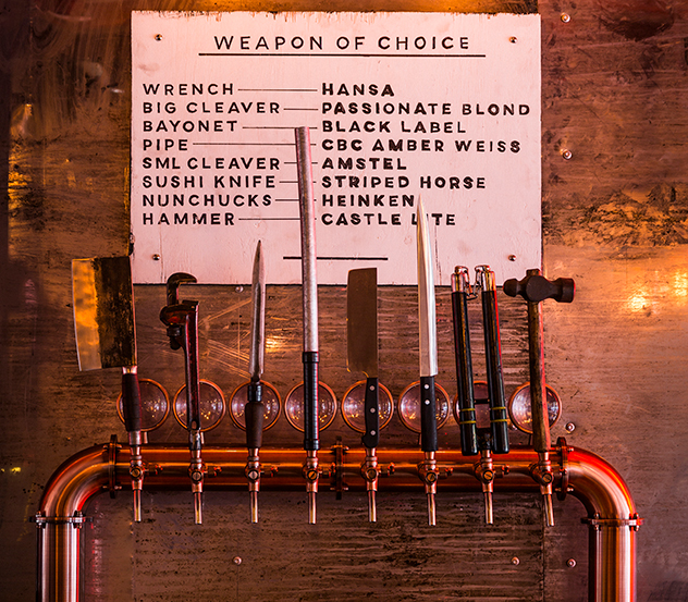 Custom-designed beer taps offer a choice of weapons. Photo by Michael le Grange.