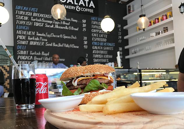 Galata steak sandwich and chips