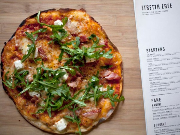 A wood-fired pizza at Stretta Café. Photo supplied.